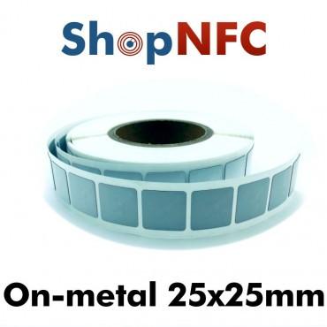 Tags NFC Anti-Métal NTAG213 adhésifs IP68 25x25mm