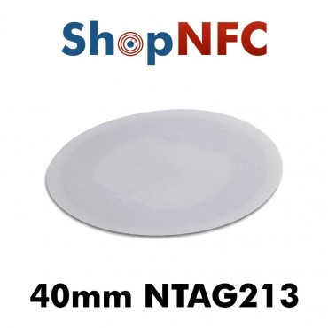 Tag NFC in carta NTAG213 40mm bianchi adesivi