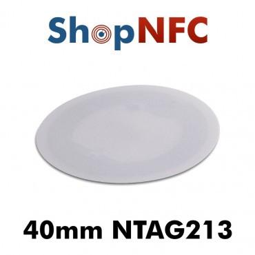 Tags NFC en papier NTAG213 40mm blancs adhésifs