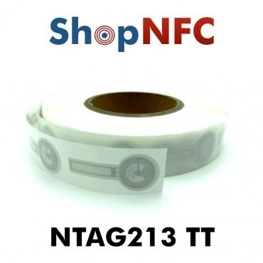 Etiqueta NFC Tamper Loop NTAG213 TT blanca adhesiva