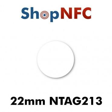 Tags NFC NTAG213 22 mm blancs adhésifs