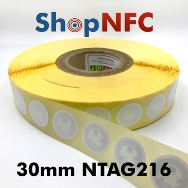 Tag NFC NTAG216 30 mm adesivi