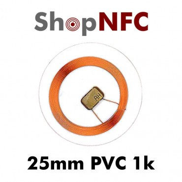 Tags NFC 1k 25mm en PVC transparents