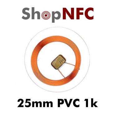 Tags NFC 1k 25mm en PVC transparents