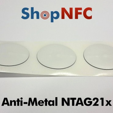 Tags NFC Anti-Métal NTAG213/NTAG216 ronds adhésifs 29mm
