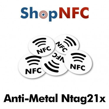 Etiqueta NFC Antimetal NTAG213/6 con Logotipo NFC