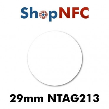 Tag NFC NTAG213 in carta IP67 29mm adesivi