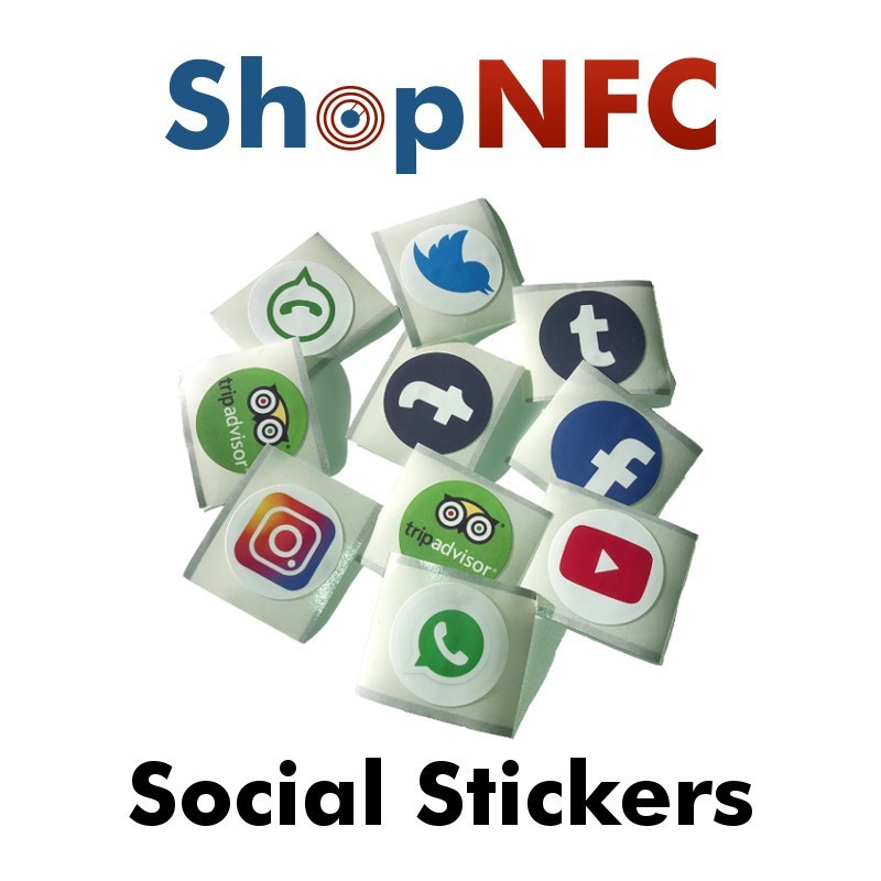 NFC Stickers with Social logos NTAG213