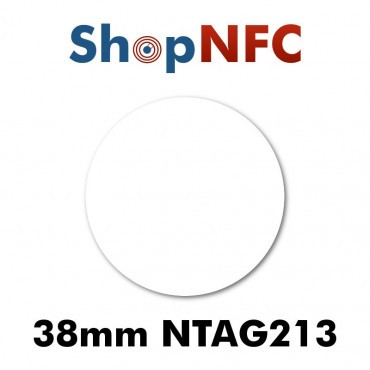 White NFC Stickers NTAG213 Round ø38mm