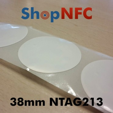 Etiqueta NFC NTAG213 38mm blanca adhesiva