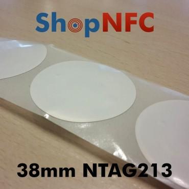 Tags NFC NTAG213 38mm blancs adhésifs