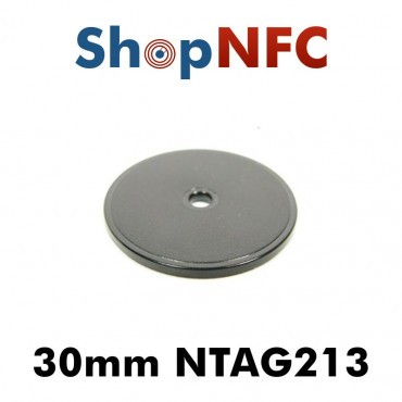 Tags NFC Ntag213 IP66 30mm en ABS perforés