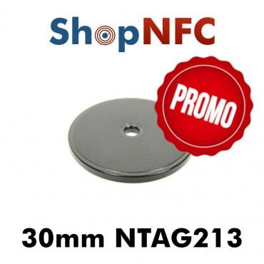Etiqueta NFC Ntag213 IP66 30mm de ABS perforada