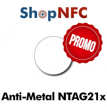 Tags NFC Anti-Métal NTAG21x ronds adhésifs 29mm