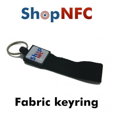 Porte-clés NFC en tissu NTAG21x - Graphique avec finition en résine