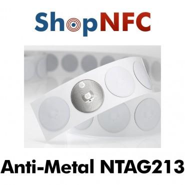 Etiqueta NFC antimetal NTAG213 redonda adhesiva 22mm
