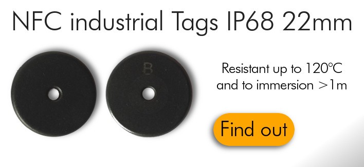 Industrial IP68 NFC Tags Ntag213 22mm Anti-Metal