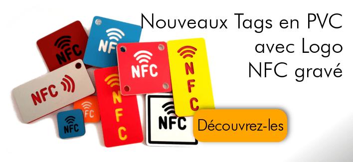 Tags NFC en PVC avec Logo NFC gravé