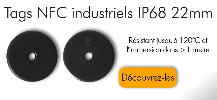 Tags NFC industriels IP68 Ntag213 Anti-Métal 22mm