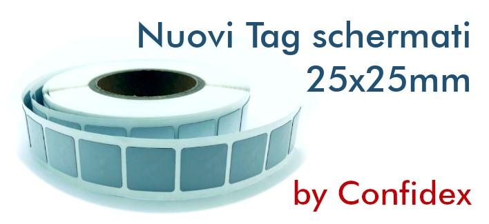 Tag NFC schermati NTAG213 adesivi IP68 25x25mm