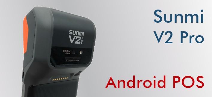 Android POS mit integriertem Thermodrucker, professionellem Barcodeleser, Wi-Fi, 4G und NFC.
