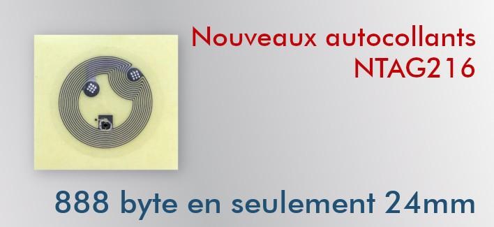 Tags NFC NTAG216 24mm adhésifs